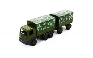 Camion militar cu prelata si remorca SuperTruck, 71x16x22 cm,