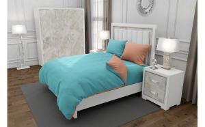 Lenjerie de pat pentru o persoana cu 2 huse de perna dreptunghiulara cu mix culoare, Duo Turquoise, bumbac satinat, gramaj tesatura 120 g mp, Turcoaz Somon, 4 piese