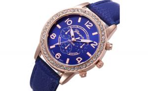 Ceas de dama Geneva Luxury Diamond Albastru