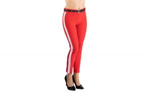 Pantaloni Dama Eleganti Rosu cu Vipusca