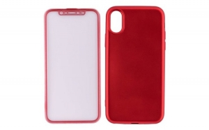 Husa Iphone X / 10 Flippy full silicon 360, Rosu + Folie de protectie cadou