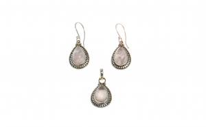 Set cercei si pandantiv din argint 925, cuart roz cabochon