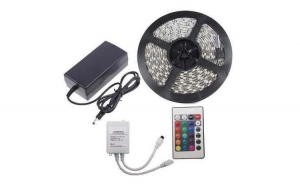 KIT Banda LED 5050 RGB 36W interior 30 LED-uri/m 5 metri cu Controller si Alimentare