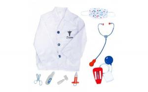 Set de jaca Doctor, Halat, Masca, Stetoscop, 6 instrumente de chirurgie