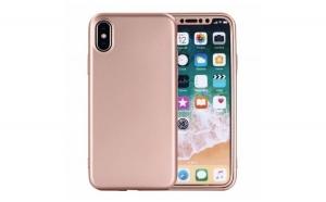 Husa iPhone X, Flippy Full Silicone 360, Roz Auriu + Folie de protectie cadou