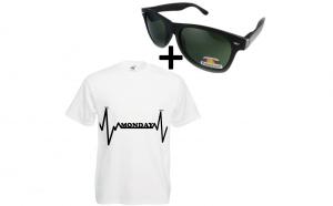 Tricou imprimat Monday +cadou ochelari de soare nerd, polarizati