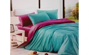 Lenjerie de pat din bumbac pentru 2 persoane, 4 piese, mov/turcoaz, la 135 RON in loc de 250 RON