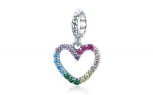 Talisman din argint 925  Rainbow Zircon Heart Shape