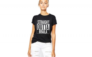 Tricou dama negru - Straight Outta Braila