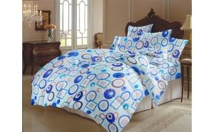 Lenjerie de pat (bumbac 100%) 2 Persoane 180x220cm, Albastru, Figuri Geometrice