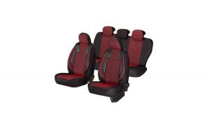 Huse scaune auto CHEVROLET LACETTI  2003-2013  dAL Luxury Rosu,Piele ecologica + Textil