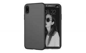 Husa Full body 360, Apple iPhone X / 10, Fata-Spate, Negru