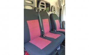 Husa / Set huse scaune auto fata ( 2+1 ) RENAULT Master 1997-2010 - autoutilitare - NEGRU+ROSU