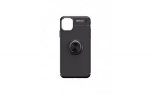 Carcasa subtire iPhone 11 Pro, cu inel metalic, negru, Gonga