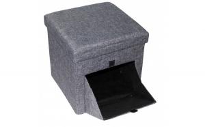 Taburet  cu spatiu depozitare, gri, 38 x 38 cm,material textil