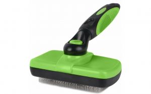 Perie cu auto-curatare pentru caini, pisici si alte animale de companie, Aexya, verde cu negru