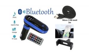 Modulator auto Bluetooth handsFree + Cablu microUSB - 2 m + Suport telefon pentru grila ventilatie, la numai 69 RON redus de la 149 RON