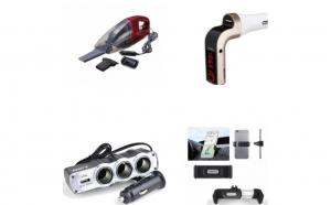 Pachet Auto: Modulator FM cu bluetooth mp3 player cu incarcator pentru diverse dispozitive incorporat + Aspirator Auto+ Priza bricheta tripla cu USB + Suport auto telefon