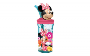 Pahar cu pai figurina 3D Minnie Mouse  plastic,  400 ml