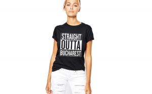 Tricou dama negru - Straight Outta Bucuresti