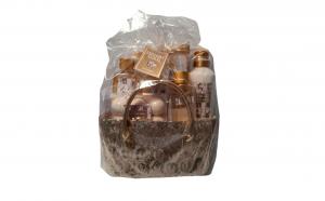 Set cadou in poseta aurie cu 5 produse aroma maslin si smochin