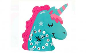 Ceas de perete - Unicorn din lemn pentru copii - 30 x 27 x 0,5 cm