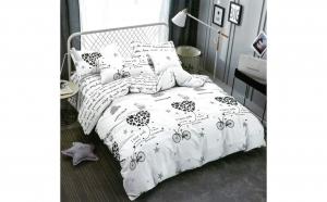 Lenjerie pentru pat dublu cu 2 fete, din finet de calitate superioara, 6 piese, bicicleta