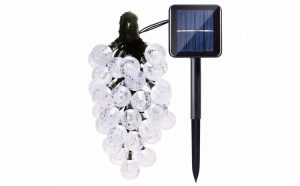 Instalatie Solara de exterior, cu 30 beculete LED, lumina Alb sau Alb-Rece, 7 jocuri de lumini, senzor lumina