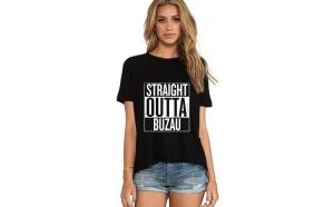Tricou dama negru - Straight Outta Buzau