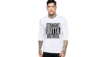 Bluza barbati alba - Straight Outta Bistrita