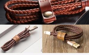 Cablu iPhone din Piele impletita - Leather cable - Maro cu auriu, la 56 RON
