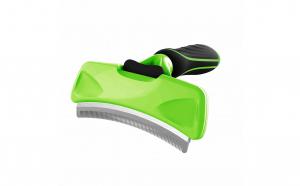 Pieptan-trimmer curbat cu auto-curatare pentru par de caini, pisici si alte animale de companie, Aexya, negru cu verde