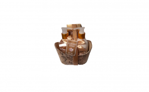 Set cadou in cadita aurie cu 3 produse aroma maslin si smochin