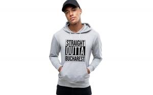Hanorac Barbati Gri- Straight Outta Bucuresti