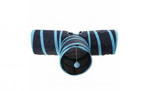 Tunel de joaca pentru pisici catei si iepurasi, Aexya, negru cu albastru, 78 cm lungime, 24 cm inaltime Black Friday Romania 2017