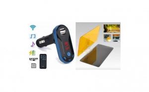 Pachet Auto : Modulator FM mp3 player cu incarcator pentru diverse dispozitive incorporat + Parasolar Auto
