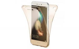 Husa Full TPU 360 (fata   spate) pentru Huawei P9 Lite 2017  Gold Transparent