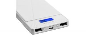 Baterie externa portabila Pineng PN-983, 10000 mAh, 5V, 2 porturi USB, afisaj LED, Alb