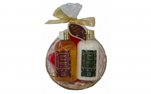 Set cadou in cosulet auriu cu 3 produse aroma rodie si trandafir