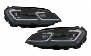 Set 2 faruri, LEDriving Osram Full LED, compatibil cu VW Golf 7 VII (2012-2017), negru pentru faruri xenon si pozitie halogen