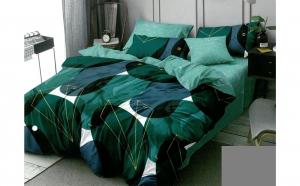 Lenjerie pentru pat dublu cu 2 fete, din finet de calitate superioara, 6 piese, green