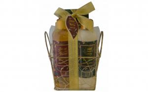 Set cadou in cosulet auriu patrat cu 3 produse aroma trandafir si rodie