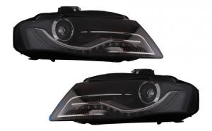 Set 2 faruri LED compatibil cu Audi A4 B8 8K (2008-2011) cu lumini de zi integrate, negru