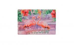 Covoras intrare, model cu flamingo