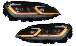 Set 2 faruri LED RHD, compatibil cu VW Golf 7 VII (2012-2017), Facelift G7.5 GTI look cu semnal dinamic