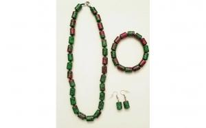Set bijuterii handmade - colier, cercei, bratara cu malahit