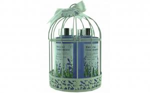 Set cadou in colivie alba cu 5 produse cu aroma lavanda