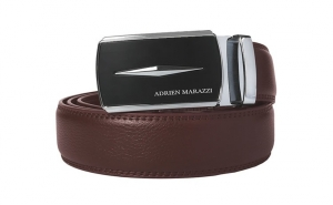 Curea barbati din piele Adrien Marazzi AM-2725 (MARO-ARGINTIU)