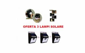 Set 3 lampi cu led, incarcare solara si senzor de miscare