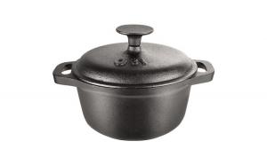 Ceaun (tuci) din fonta pura, capacitate 1.5 litri, diametru 18 cm, capac fonta, manere fonta, inductie